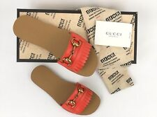 Sz.36.5 / 6.5 GUCCI Horsebit Fringe Orange Leather Slide Sandal Flat