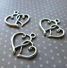 20 pcs Antique Silver alloy charm double heart, two hearts, pendant