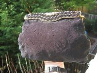 ED B. ROBINSON VINTAGE EVENING PURSE BAG BLACK  BEADED  & GOLD FRAME need repair