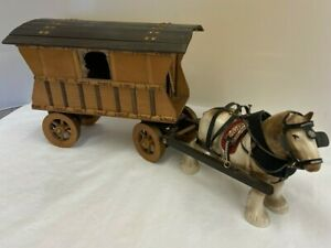 Ceramic Shire Horse and Wooden Romany Caravan Carriage (D3)
