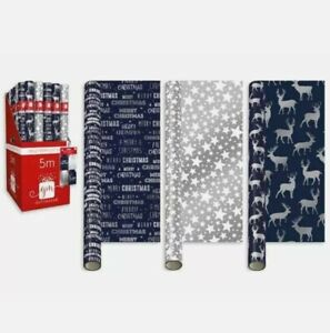 3 x 5m Rolls traditional Christmas Gift Wrapping Paper Navy blue reindeer /star