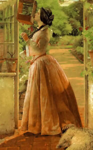 Dream-art Oil painting Walter Howell Deverell - a pet young lady in her spring