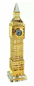 London Gold Big Ben Crystal Glass British Souvenir With LED Light Clock 18 cm