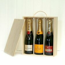 3 Bottle Classic Champagne Box Veuve Clicquot, Moet et Chandon, Piper Heidsieck