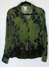 UNIFORM Crinkle Blouse Size M Long Sleeve Velour Detail Rhinestone Buttons Rayon