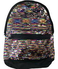Victoria's Secret Pink Campus Backpack Bookbag Sequin Bling Rainbow