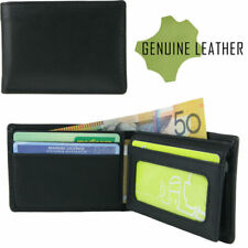 Mens Genuine Full Grain Leather Wallet Black High Quality Australian Company