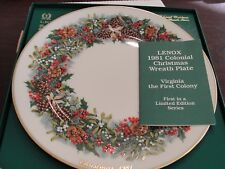 Lenox Colonial Christmas Wreath Plate 1981 Virgina