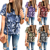 Women's Summer Camo Tee Casual Blouse Ladies Shirts T-Shirts Short Sleeve Tops