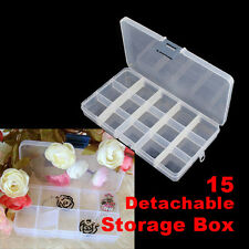 15pcs Detachable Clear Plastic Divided Storage Box Rhinestone Nail Art Organizer