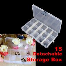 15pcs Detachable Clear Plastic Divided Storage Box Rhinestone Nail Art Organizer
