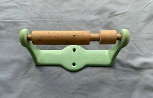 Antique Cast Iron Jadeite Green Porcelain Toilet Paper Tissue  Holder Vtg 54-20J