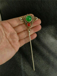 Antique Tibetan Silver inlay Red green gem jade Retro Hairpin Step shake