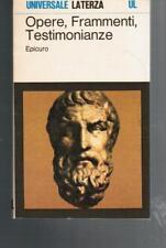 EPICURO, Opere frammenti testimonianze, Laterza 1986