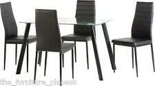 Abbey Black PU Leather Dining Chairs X 4 - Next Day Delivery