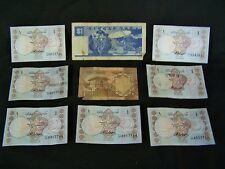 Lot of 9 Pakistan 1 Rupee Rupees & Singapore Dollar Bank Note Paper Money