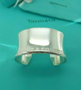 Tiffany & Co. 1837 Wide Silver Cuff Bangle Bracelet, UK ASSAY Hallmark, RRP £950