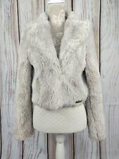 Lipsy London Cropped Faux Fur Jacket Coat Taupe Size UK 10