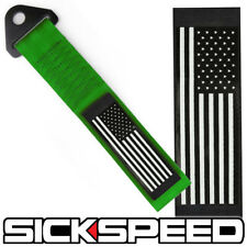 GREEN AMERICAN FLAG HIGH STRENGTH RACING TOW STRAP FRONT REAR TOW HOOK STARS
