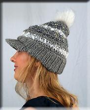New Grey and White Knit Wool Beanie Hat White Fox Fur Pom Pom