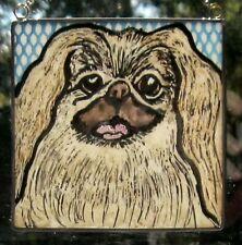 "Pekingese Windshop stained glass dog suncatcher kiln-fired 4""x 4"" #101"