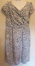 Rocha John Rocha UK14 EU42 US10 taupe lined dress with white spot patterning