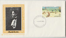 Stamp Australia 1984 high value $5 Holiday Mentone painting Wesley WCS FDC