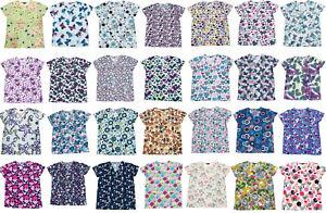 365 Work & Wear Womens Fashion Medical Nursing Scrub Tops Printed XS-2XL Part2