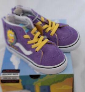 "The Simpsons Vans SK8-Hi Zip ""Lisa 4 Prez"" purple high top sneakers size 7T."