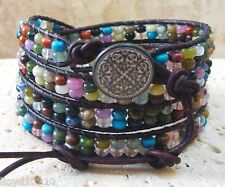 Mix #2 Gemstone Rondelle Beaded Handmade Leather 4-Wrap Bracelet