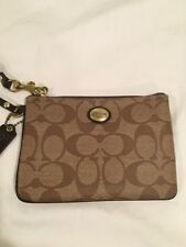 "COACH Brown Tan Signature ""C"" Wristlet Purse With Leather Strap"