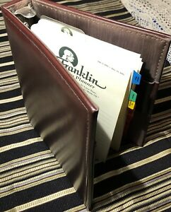 Franklin Covey Classic 7-Ring Day Planner Binder Simulated Leather Cordovan Nice