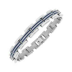 Men's Titanium and Blue Enamel Bracelet 8.5