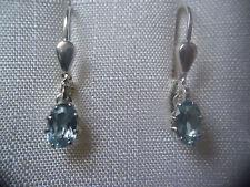 Aquamarin Ohrhänger Sterlingsilber, Ohrhänger Silber 925 mit Aquamarin oval