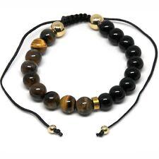 Men's Shamballa Bracelet 9mm Tiger Eye & Black Beads Adjustable