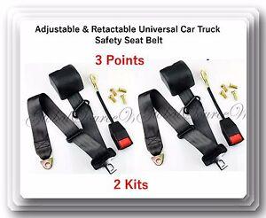 2 Kits Universal Strap Retractable & Adjustable Safety Seat Belt Black 3 Point