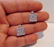 SQUARE DANGLING EARRINGS W/ 2 CT BAGUETTE LAB DIAMONDS / 925 STERLING SILVER