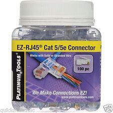 Platinum Tools 202003J 100-Pc Jar EZ-RJ CAT 5/5e Connectors Network Data Crimper
