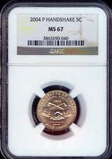2004-P Handshake Jefferson Nickel Grade MS67 by NGC ..