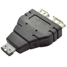 Black Power over eSATA eSATAp Male to USB 2.0A Female + eSATA Female Adapter Hot