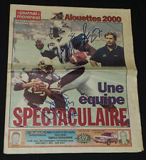 2000 MONTREAL ALOUETTES CFL PRINGLE + CAVILLO AUTOGRAPHS on NEWSPAPER - ORIGINAL