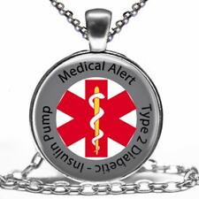 Diabetic Type 2 Insulin Pump Medical Alert Necklace Glass Top Pendant & Chain