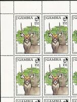 Gambia 1988 Scott's#724 Mint Sheet of 20 - 2 Dalasy - Water Buck Cat$15+