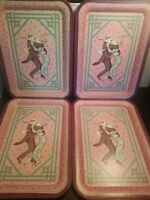 Vintage Armstrong Carpet Collector's Series Metal Trays First Edition Set of 4