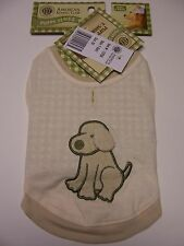 AKC Puppy Dog T-Shirt Cream Ivory with Applique Terry Cloth Dog Size XS NWT