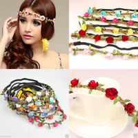 Boho Fabric Festival Wedding Party Garland Forehead Hair Women Flower Head Band