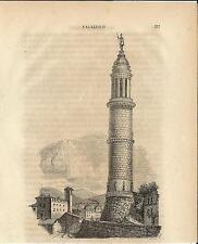 Stampa antica PALAZZOLO TORRE del POPOLO con San Fedele BRESCIA 1859 Old print