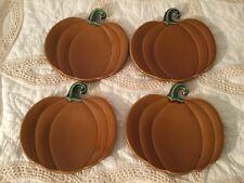 "Williams Sonoma Fall Pumpkin Ceramic Plates (4), Orange Spice 8"", Dessert Snack"