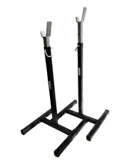 Black Power Rack Heavy Duty Squat Stand Home Gym Barbell Fitness