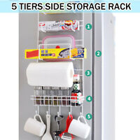 5 Tier Iron Wall Mount Kitchen Freezer Door Spice Rack Cabinet Organizer Storage